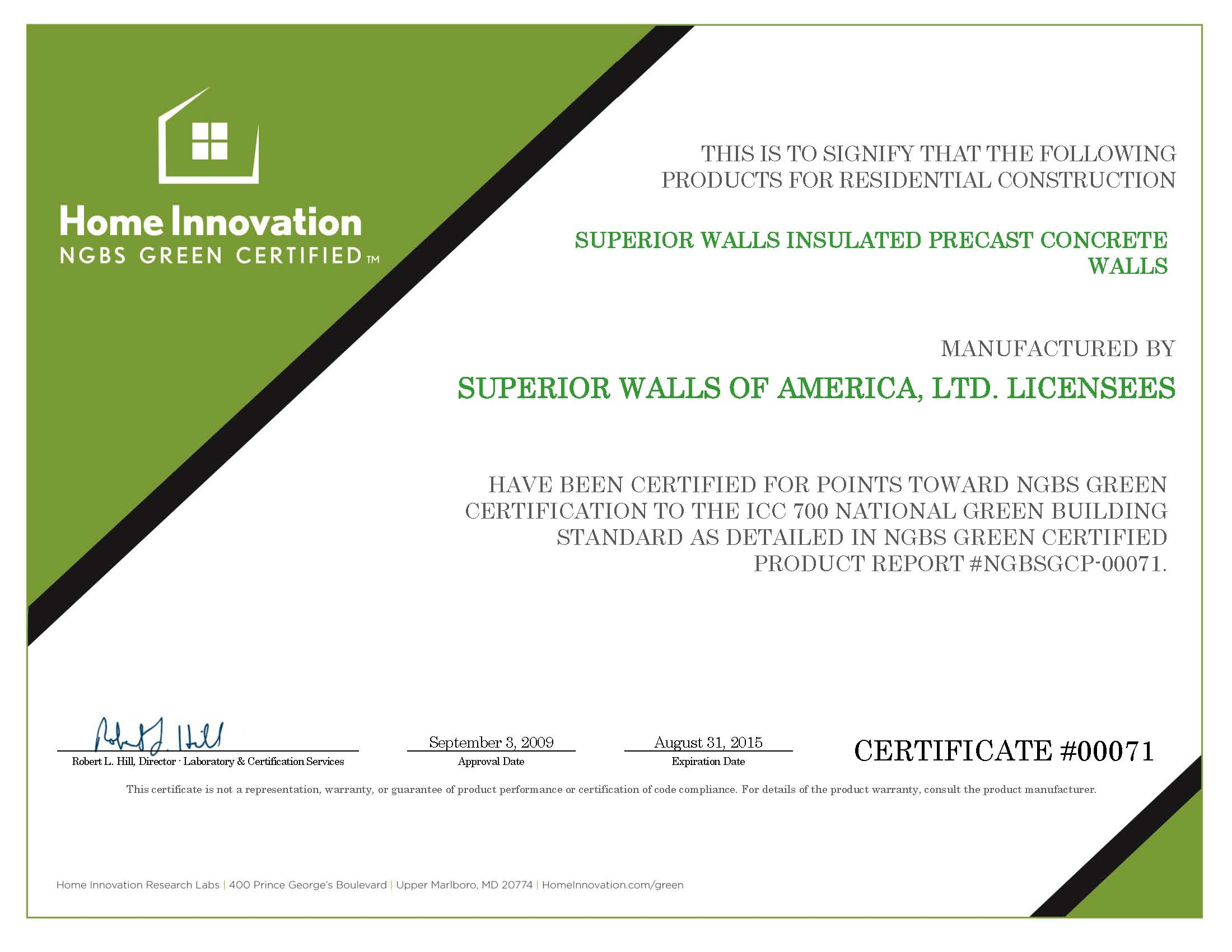 Superior Walls NGBS Green Certified Certificate